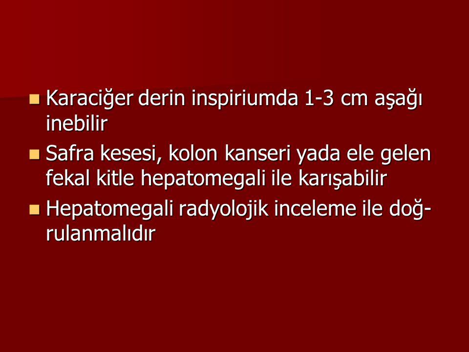 Karaciğer derin inspiriumda 1-3 cm aşağı inebilir Karaciğer derin inspiriumda 1-3 cm aşağı inebilir Safra kesesi, kolon kanseri yada ele gelen fekal k