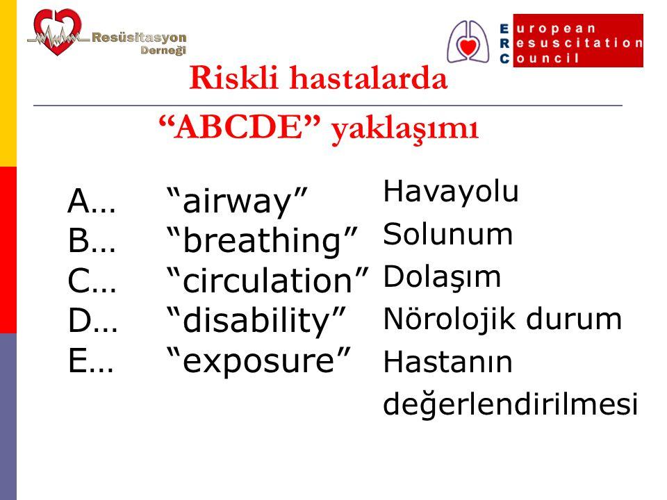A… B… C… D… E… airway breathing circulation disability exposure Riskli hastalarda ABCDE yaklaşımı Havayolu Solunum Dolaşım Nörolojik durum Hastanın değerlendirilmesi