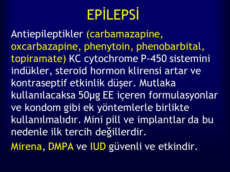 EPİLEPSİ Antiepileptikler (carbamazapine, oxcarbazapine, phenytoin, phenobarbital, topiramate) KC cytochrome P-450 sistemini indükler, steroid hormon klirensi artar ve kontraseptif etkinlik düşer.