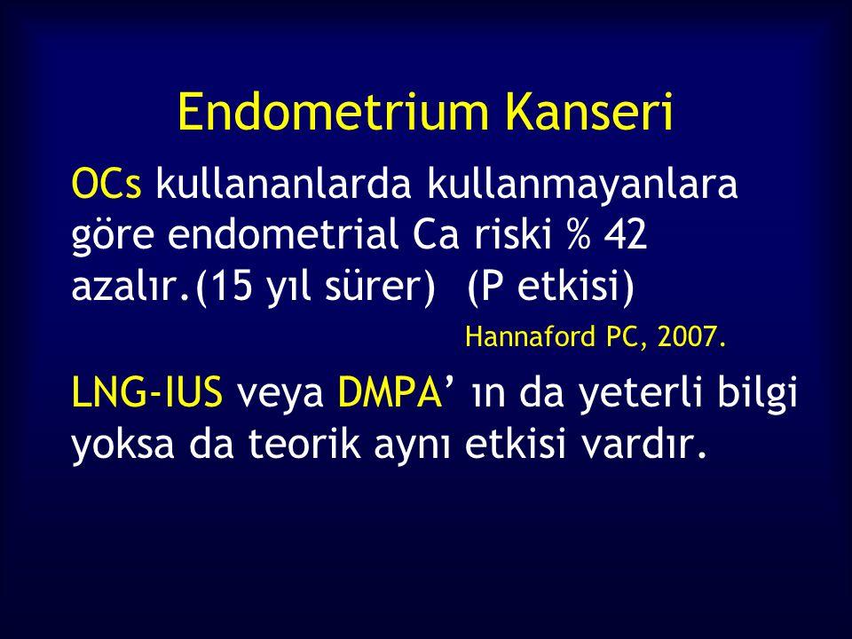 Endometrium Kanseri OCs kullananlarda kullanmayanlara göre endometrial Ca riski % 42 azalır.(15 yıl sürer)(P etkisi) Hannaford PC, 2007.