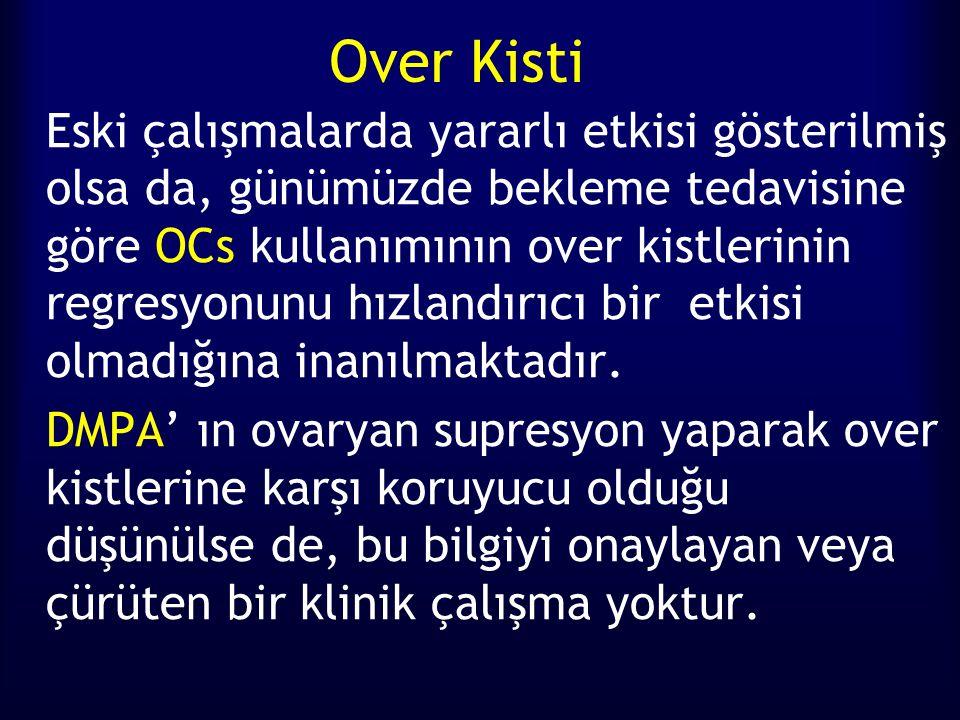 Over Kisti Eski çalışmalarda yararlı etkisi gösterilmiş olsa da, günümüzde bekleme tedavisine göre OCs kullanımının over kistlerinin regresyonunu hızlandırıcı bir etkisi olmadığına inanılmaktadır.