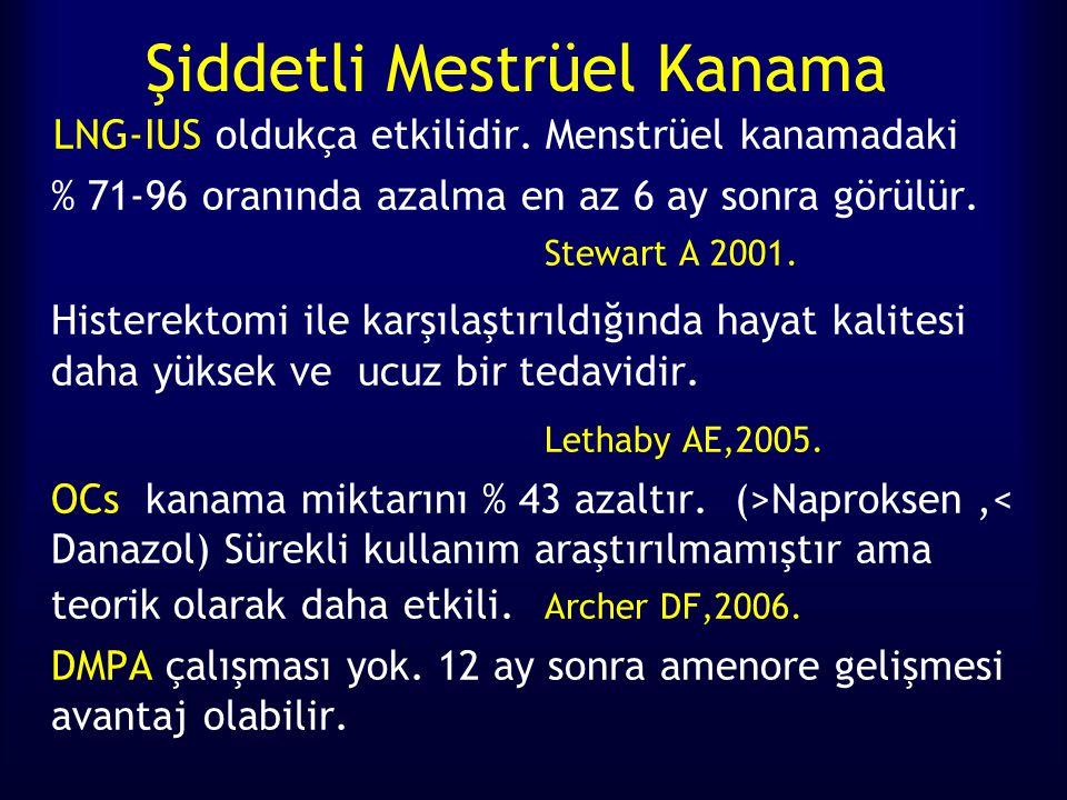 Şiddetli Mestrüel Kanama LNG-IUS oldukça etkilidir. Menstrüel kanamadaki % 71-96 oranında azalma en az 6 ay sonra görülür. Stewart A 2001. Histerektom