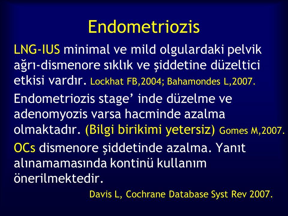 Endometriozis LNG-IUS minimal ve mild olgulardaki pelvik ağrı-dismenore sıklık ve şiddetine düzeltici etkisi vardır. Lockhat FB,2004; Bahamondes L,200