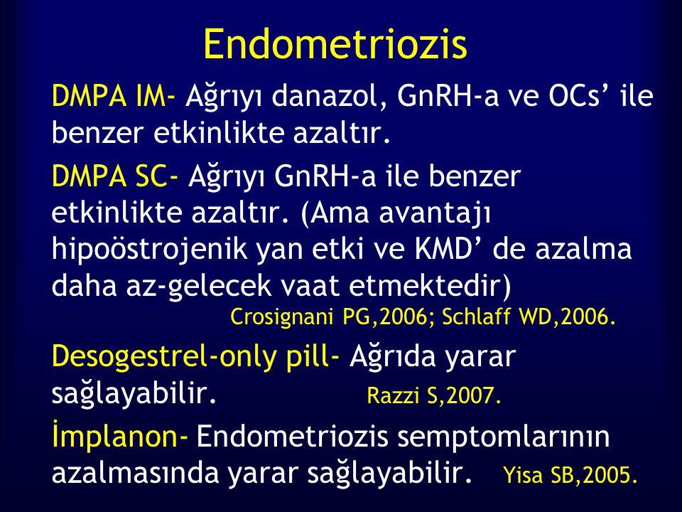 Endometriozis DMPA IM- Ağrıyı danazol, GnRH-a ve OCs' ile benzer etkinlikte azaltır. DMPA SC- Ağrıyı GnRH-a ile benzer etkinlikte azaltır. (Ama avanta