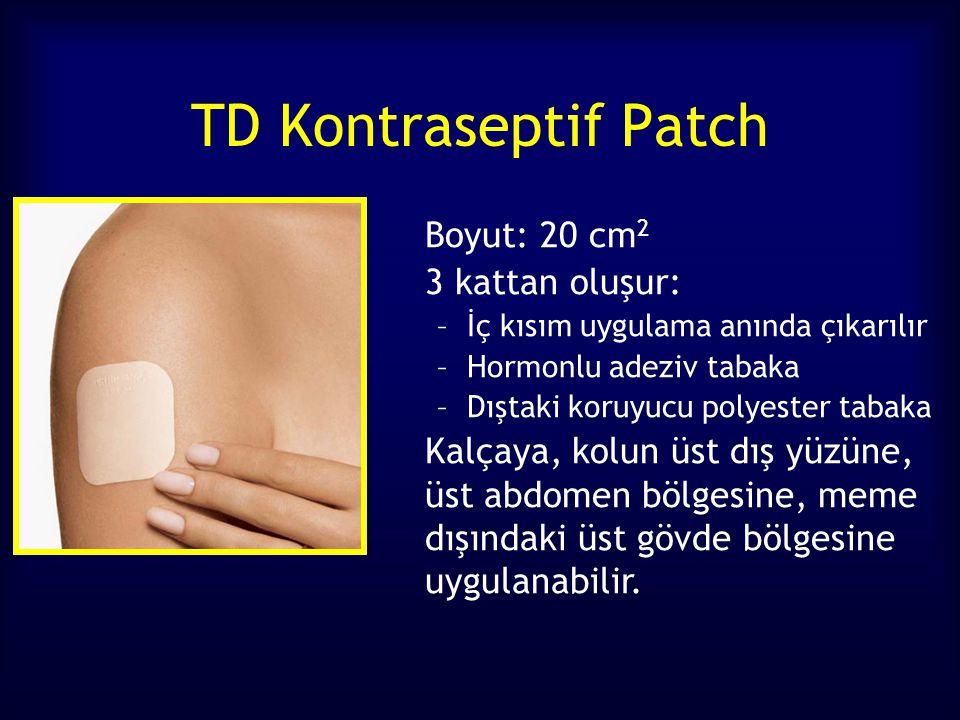 TD Kontraseptif Patch Boyut: 20 cm 2 3 kattan oluşur: –İç kısım uygulama anında çıkarılır –Hormonlu adeziv tabaka –Dıştaki koruyucu polyester tabaka Kalçaya, kolun üst dış yüzüne, üst abdomen bölgesine, meme dışındaki üst gövde bölgesine uygulanabilir.