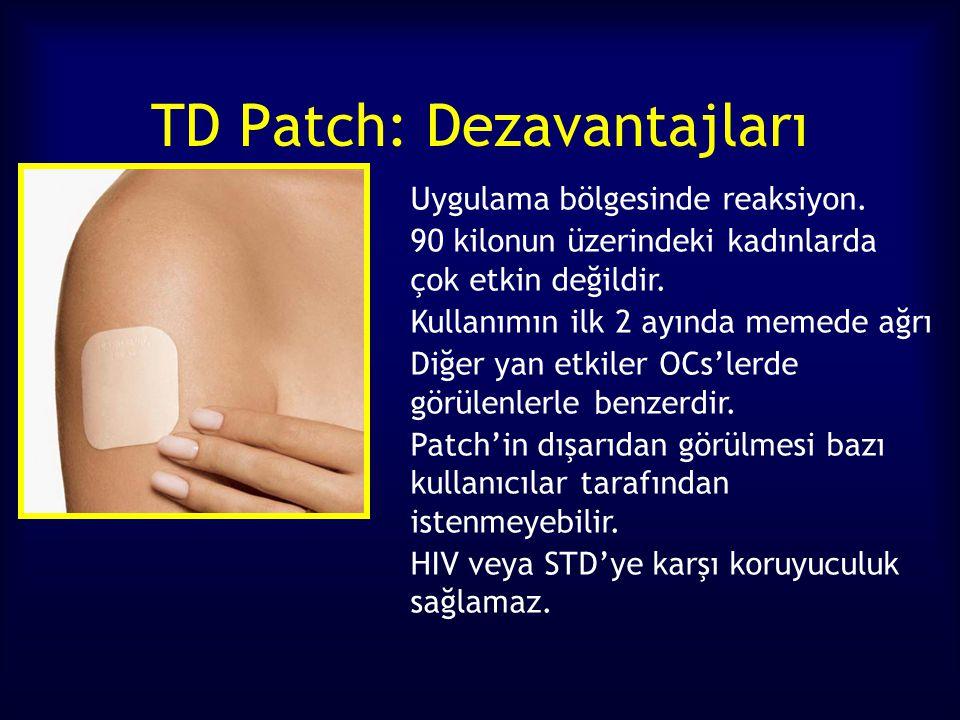 TD Patch: Dezavantajları Uygulama bölgesinde reaksiyon. 90 kilonun üzerindeki kadınlarda çok etkin değildir. Kullanımın ilk 2 ayında memede ağrı Diğer