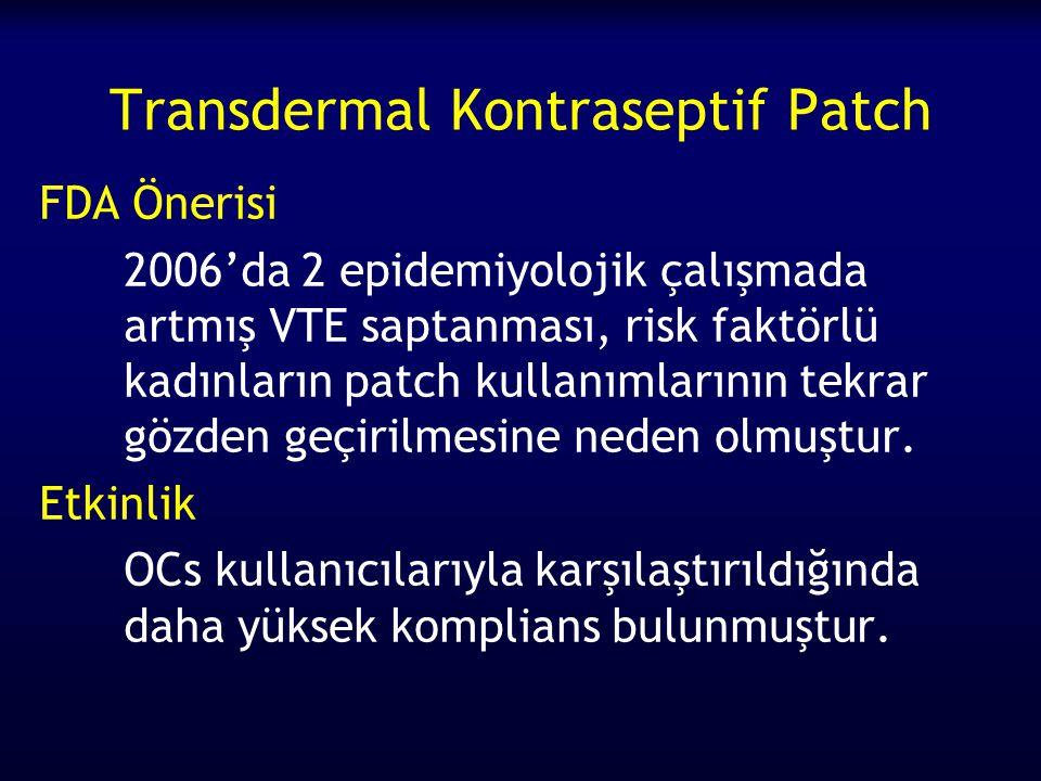 Transdermal Kontraseptif Patch FDA Önerisi 2006'da 2 epidemiyolojik çalışmada artmış VTE saptanması, risk faktörlü kadınların patch kullanımlarının tekrar gözden geçirilmesine neden olmuştur.