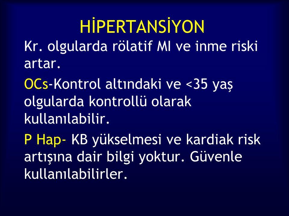 HİPERTANSİYON Kr. olgularda rölatif MI ve inme riski artar. OCs-Kontrol altındaki ve <35 yaş olgularda kontrollü olarak kullanılabilir. P Hap- KB yüks