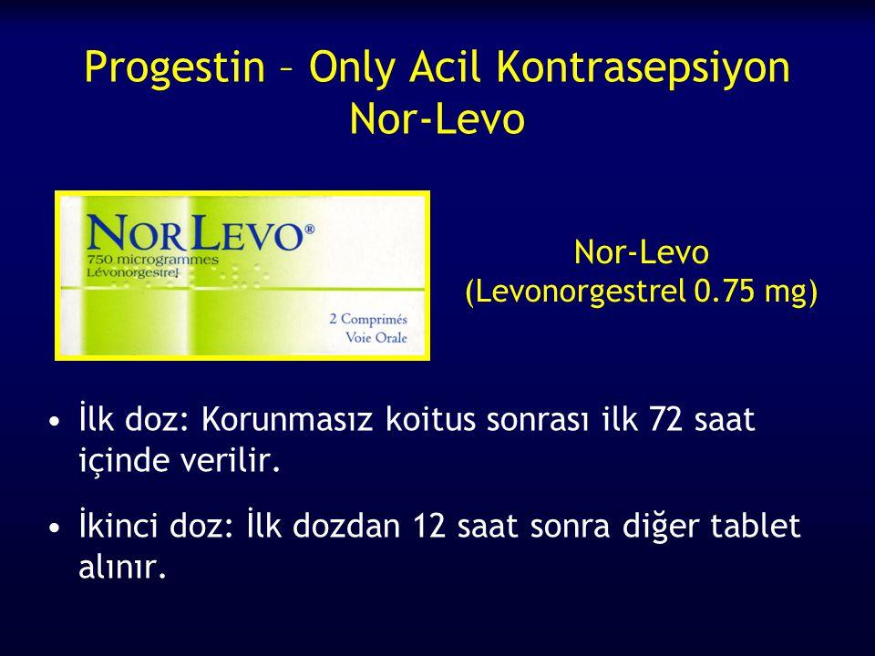 Progestin – Only Acil Kontrasepsiyon Nor-Levo İlk doz: Korunmasız koitus sonrası ilk 72 saat içinde verilir. İkinci doz: İlk dozdan 12 saat sonra diğe