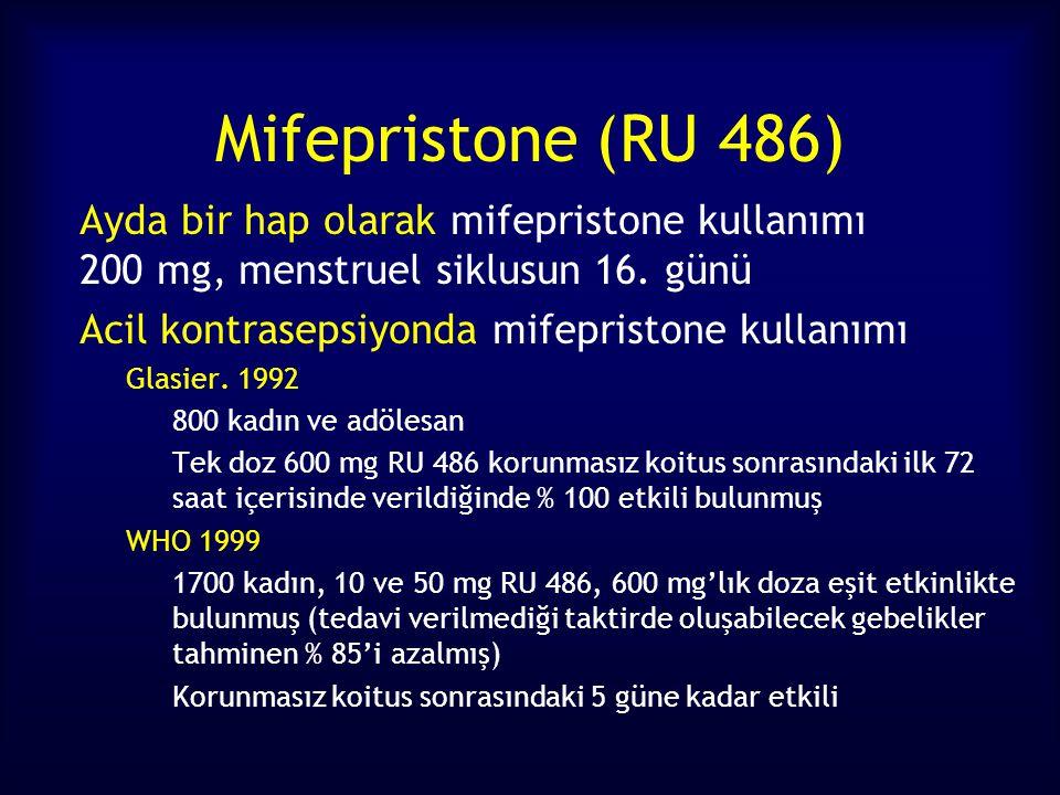 Mifepristone (RU 486) Ayda bir hap olarak mifepristone kullanımı 200 mg, menstruel siklusun 16. günü Acil kontrasepsiyonda mifepristone kullanımı Glas