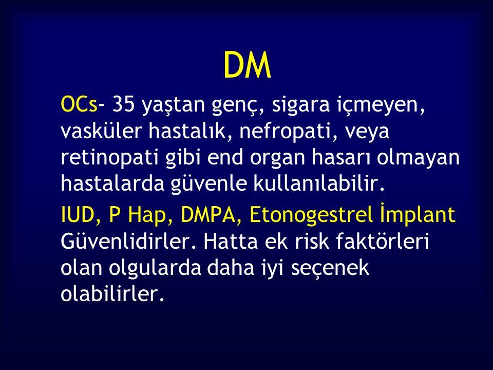 DM OCs- 35 yaştan genç, sigara içmeyen, vasküler hastalık, nefropati, veya retinopati gibi end organ hasarı olmayan hastalarda güvenle kullanılabilir.