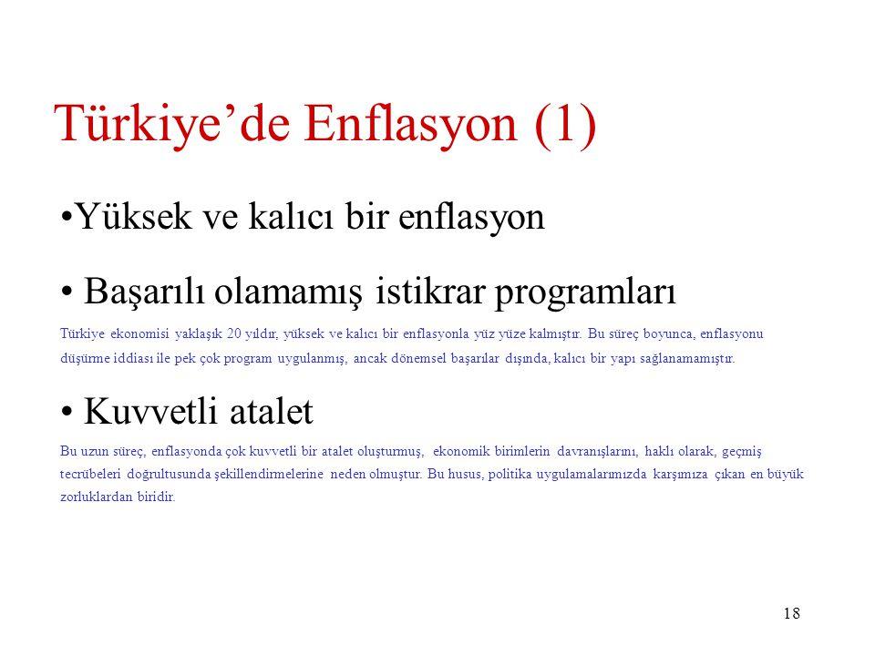 18 Türkiye'de Enflasyon (1) Yüksek ve kalıcı bir enflasyon Başarılı olamamış istikrar programları Türkiye ekonomisi yaklaşık 20 yıldır, yüksek ve kalıcı bir enflasyonla yüz yüze kalmıştır.