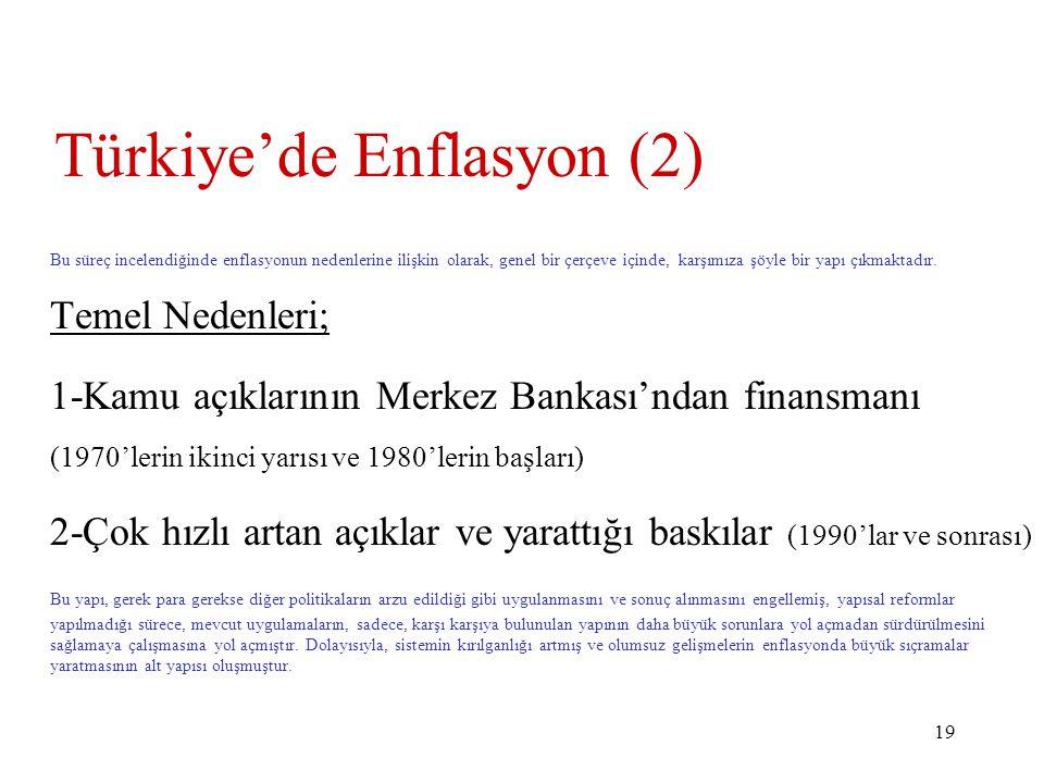 19 Türkiye'de Enflasyon (2) Bu süreç incelendiğinde enflasyonun nedenlerine ilişkin olarak, genel bir çerçeve içinde, karşımıza şöyle bir yapı çıkmaktadır.