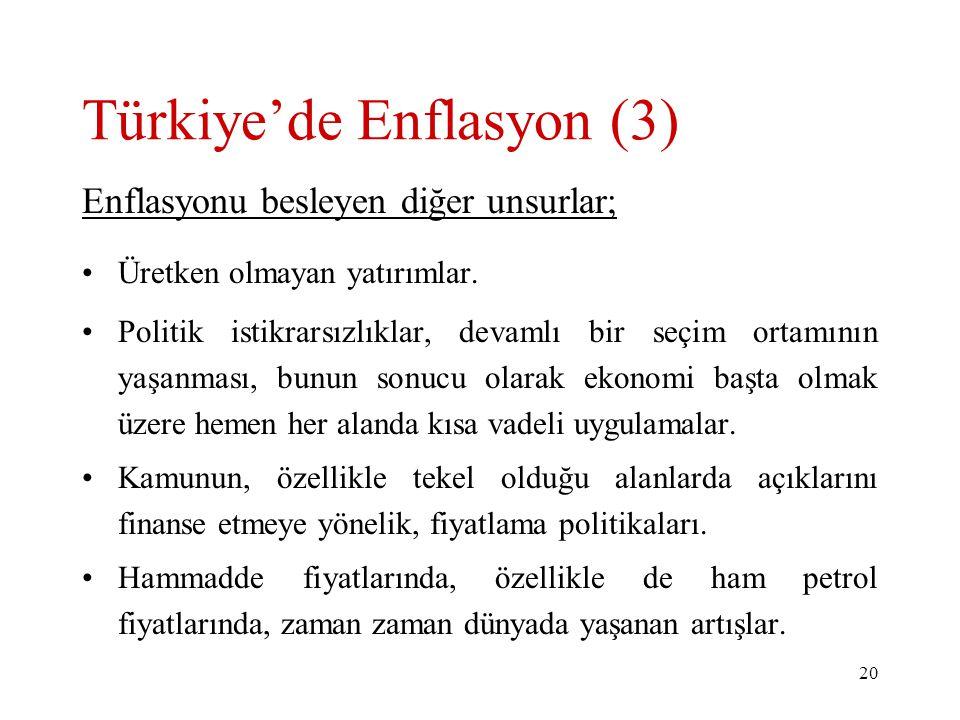 20 Türkiye'de Enflasyon (3) Enflasyonu besleyen diğer unsurlar; Üretken olmayan yatırımlar. Politik istikrarsızlıklar, devamlı bir seçim ortamının yaş