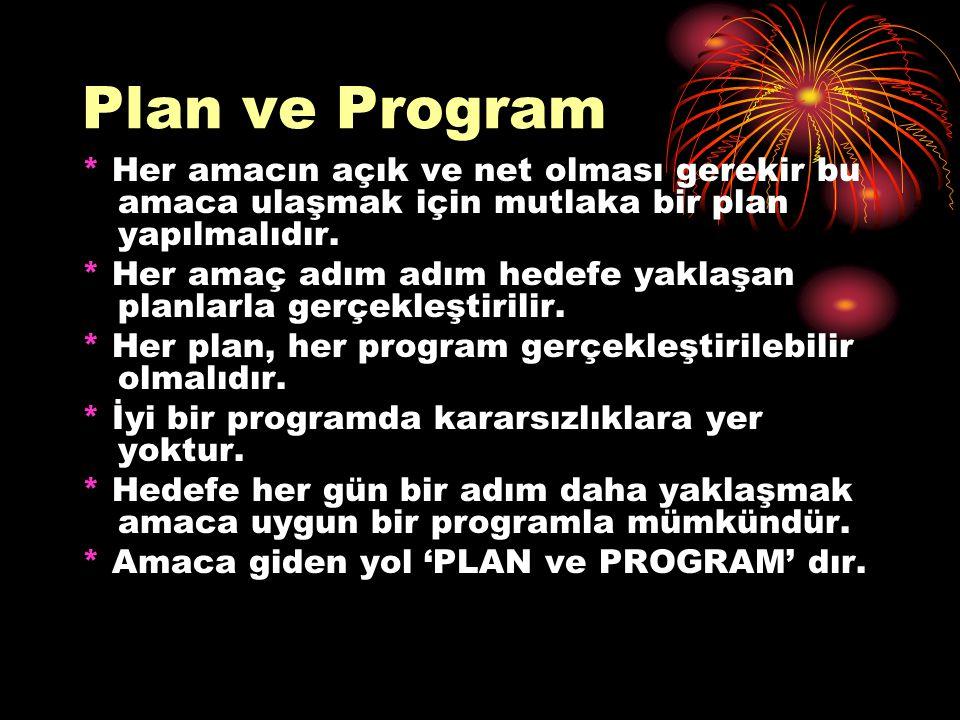 Plan ve Program * Her amacın açık ve net olması gerekir bu amaca ulaşmak için mutlaka bir plan yapılmalıdır. * Her amaç adım adım hedefe yaklaşan plan