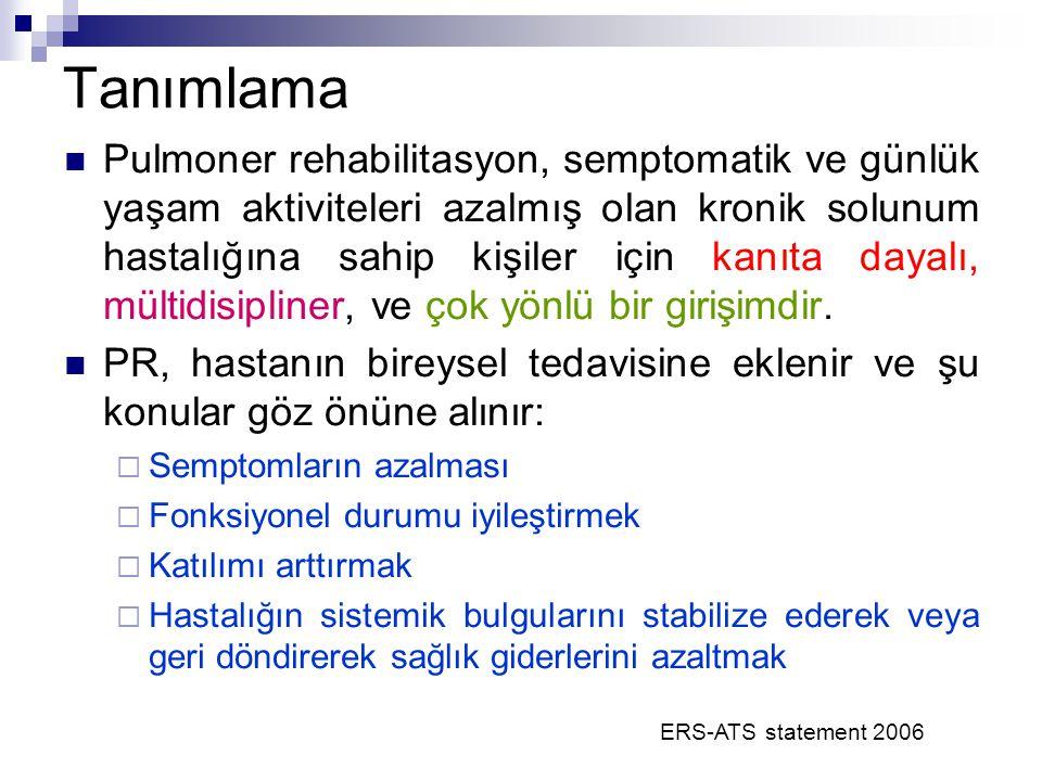 ERS-ATS statement 2006 Pulmoner rehabilitasyon, semptomatik ve günlük yaşam aktiviteleri azalmış olan kronik solunum hastalığına sahip kişiler için ka