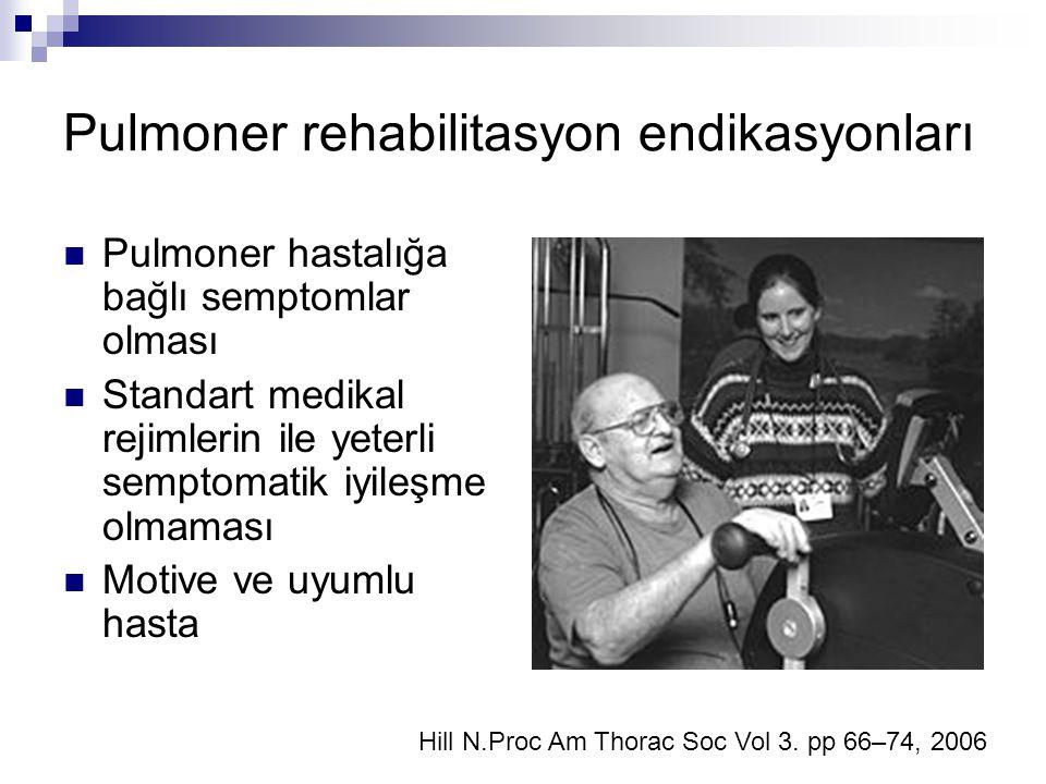 Pulmoner rehabilitasyon endikasyonları Pulmoner hastalığa bağlı semptomlar olması Standart medikal rejimlerin ile yeterli semptomatik iyileşme olmamas