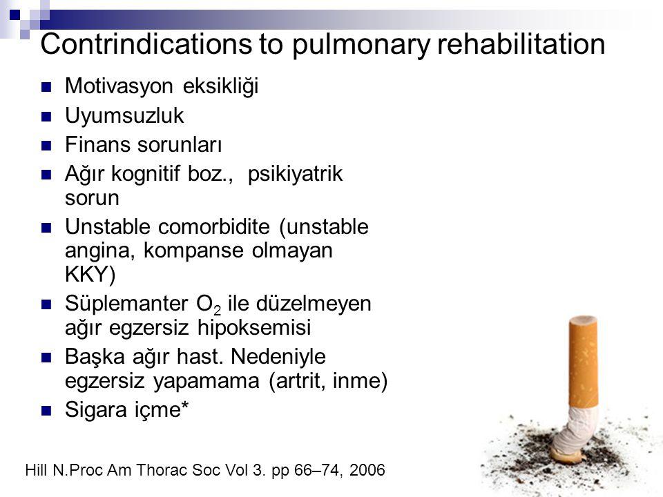 Contrindications to pulmonary rehabilitation Motivasyon eksikliği Uyumsuzluk Finans sorunları Ağır kognitif boz., psikiyatrik sorun Unstable comorbidi