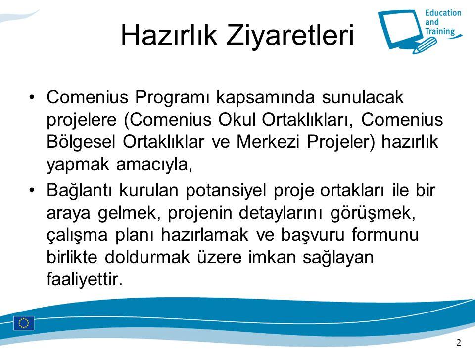 Hazırlık Ziyaretleri Comenius Programı kapsamında sunulacak projelere (Comenius Okul Ortaklıkları, Comenius Bölgesel Ortaklıklar ve Merkezi Projeler)