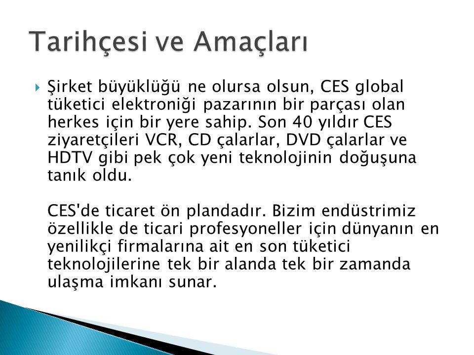  Şirket büyüklüğü ne olursa olsun, CES global tüketici elektroniği pazarının bir parçası olan herkes için bir yere sahip. Son 40 yıldır CES ziyaretçi