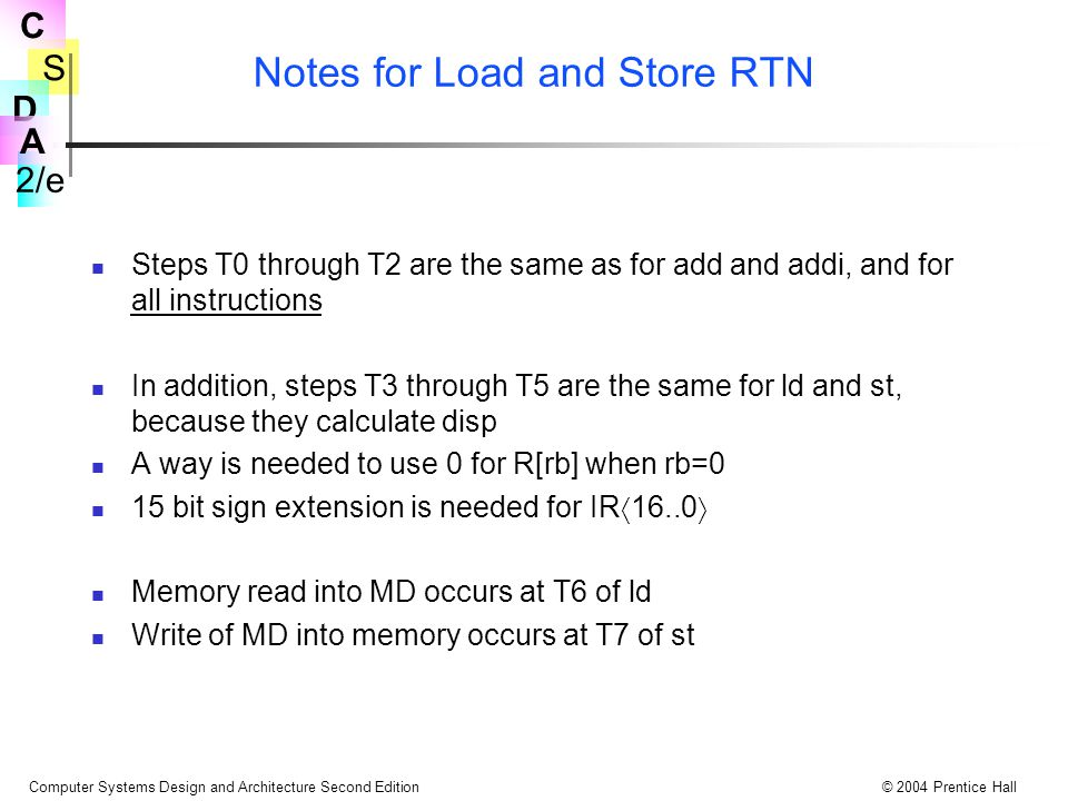 S 2/e C D A Computer Systems Design and Architecture Second Edition© 2004 Prentice Hall Notes for Load and Store RTN Steps T0 through T2 are the same