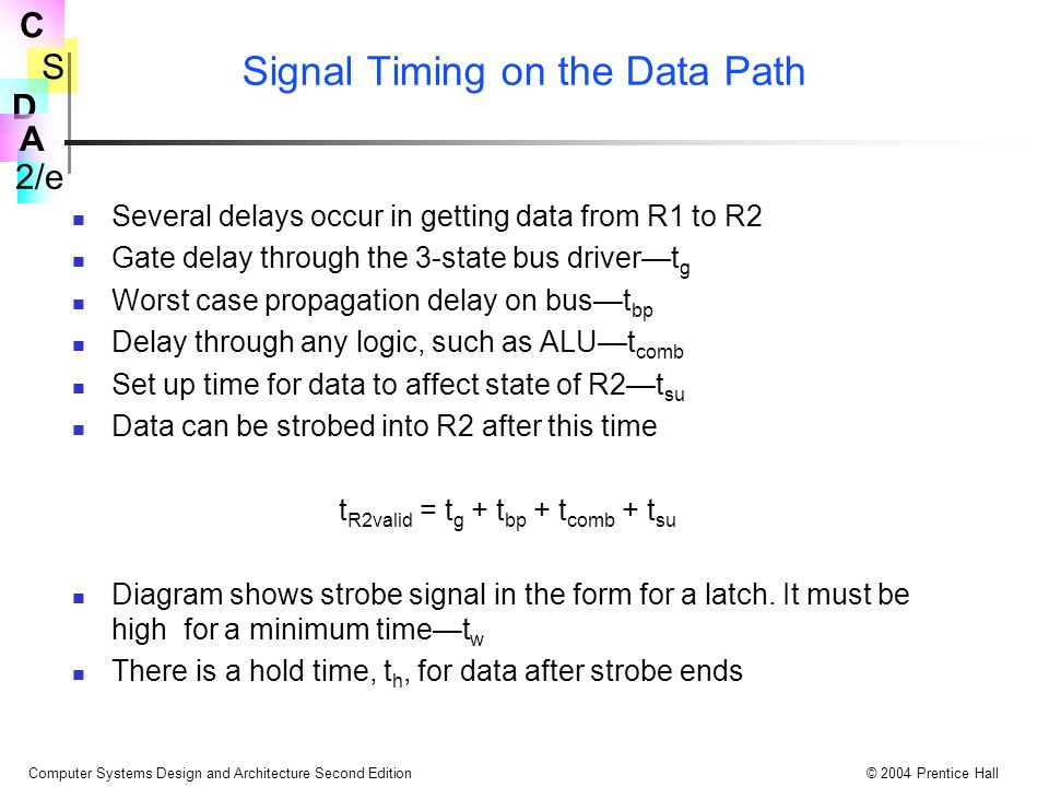 S 2/e C D A Computer Systems Design and Architecture Second Edition© 2004 Prentice Hall Signal Timing on the Data Path Several delays occur in getting