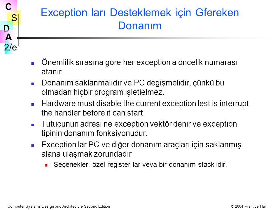S 2/e C D A Computer Systems Design and Architecture Second Edition© 2004 Prentice Hall Exception ları Desteklemek için Gfereken Donanım Önemlilik sırasına göre her exception a öncelik numarası atanır.