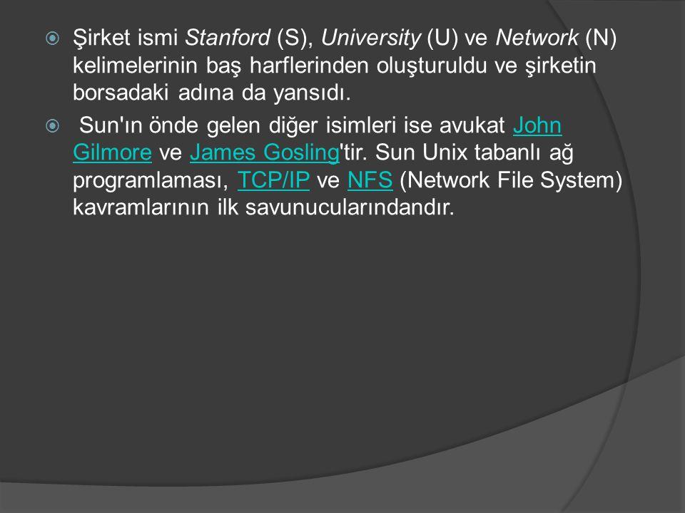  Şirket ismi Stanford (S), University (U) ve Network (N) kelimelerinin baş harflerinden oluşturuldu ve şirketin borsadaki adına da yansıdı.  Sun'ın