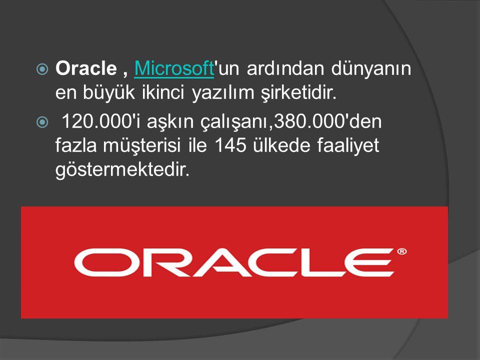  Oracle, Microsoft'un ardından dünyanın en büyük ikinci yazılım şirketidir.Microsoft  120.000'i aşkın çalışanı,380.000'den fazla müşterisi ile 145 ü