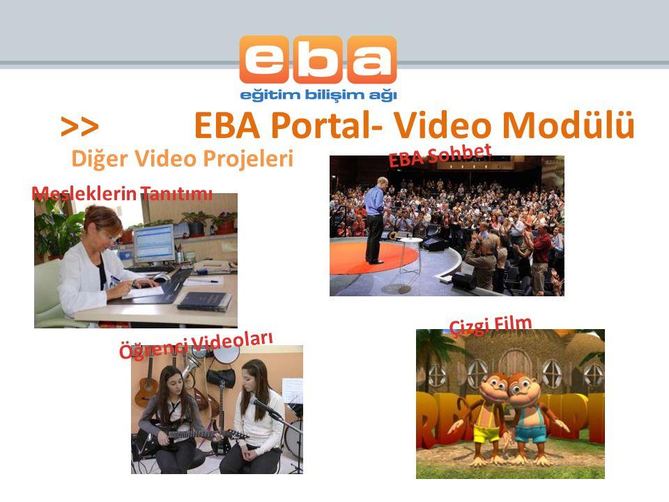 Diğer Video Projeleri Mesleklerin Tanıtımı Öğrenci Videoları Çizgi Film EBA Sohbet >>EBA Portal- Video Modülü