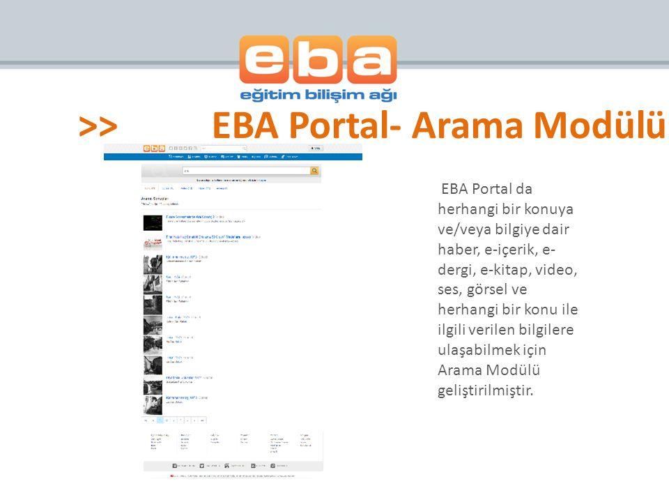 EBA Portal da herhangi bir konuya ve/veya bilgiye dair haber, e-içerik, e- dergi, e-kitap, video, ses, görsel ve herhangi bir konu ile ilgili verilen