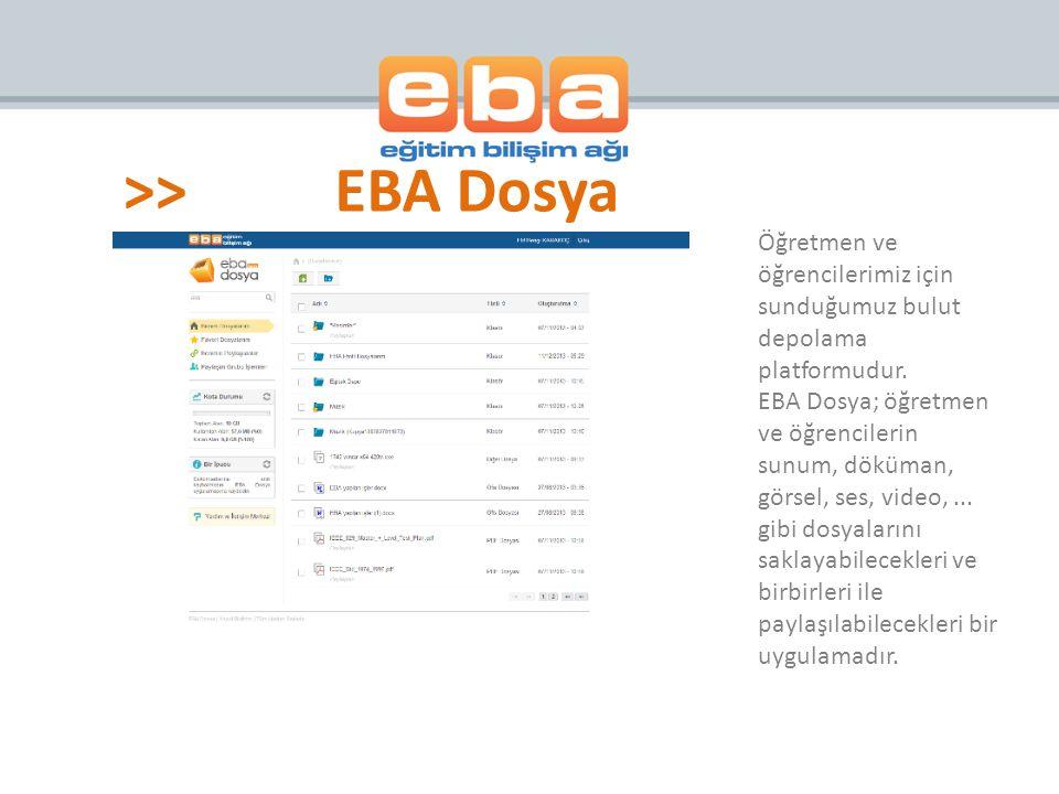 >>EBA Dosya Öğretmen ve öğrencilerimiz için sunduğumuz bulut depolama platformudur. EBA Dosya; öğretmen ve öğrencilerin sunum, döküman, görsel, ses, v