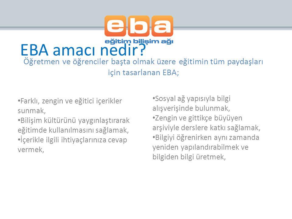 >> WEB EBA Portal & Modüller Haberler E-içerik E-kitap Video Ses Görsel Tartışalım E-Dergi E-Doküman Arama