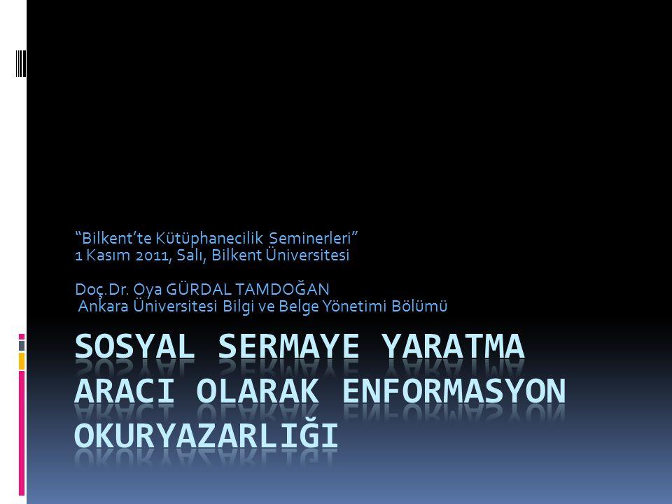 Bilkent'te Kütüphanecilik Seminerleri 1 Kasım 2011, Salı, Bilkent Üniversitesi Doç.Dr.