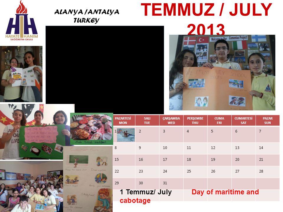 HAZİRAN / JUNE 2013 PAZARTESİ MON SALI TUE ÇARŞAMBA WED PERŞEMBE THU CUMA FRI CUMARTESİ SAT PAZAR SUN 12 3456789 10111213141516 17181920212223 24252627282930 5 Haziran/Jun Environment Day 3rd.