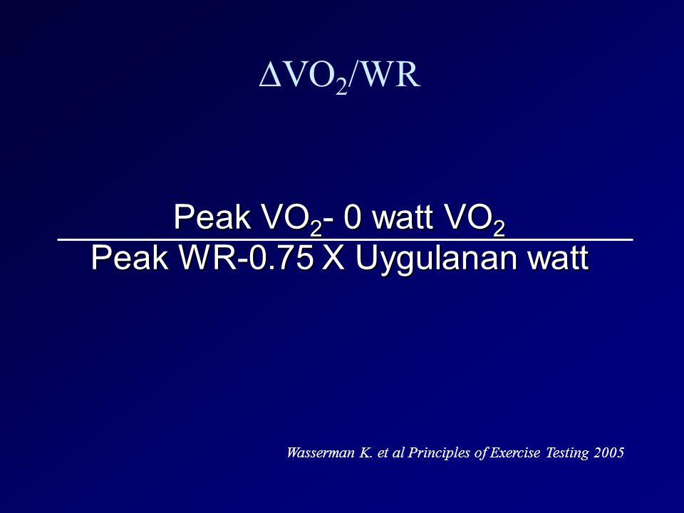 Peak VO 2 - 0 watt VO 2 Peak WR-0.75 X Uygulanan watt ∆VO 2 /WR Wasserman K. et al Principles of Exercise Testing 2005
