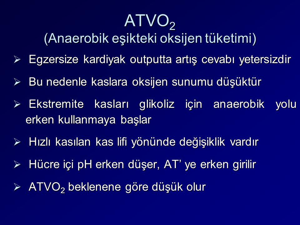 ATVO 2 (Anaerobik eşikteki oksijen tüketimi)  Egzersize kardiyak outputta artış cevabı yetersizdir  Bu nedenle kaslara oksijen sunumu düşüktür  Eks