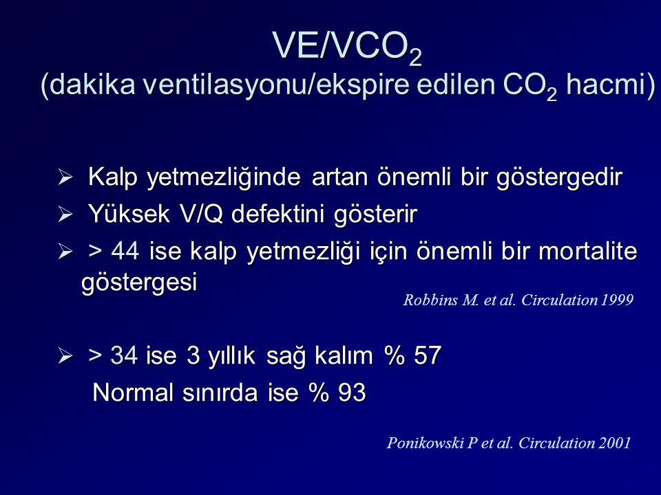VE/VCO 2 (dakika ventilasyonu/ekspire edilen CO 2 hacmi)  Kalp yetmezliğinde artan önemli bir göstergedir  Yüksek V/Q defektini gösterir  > 44 ise
