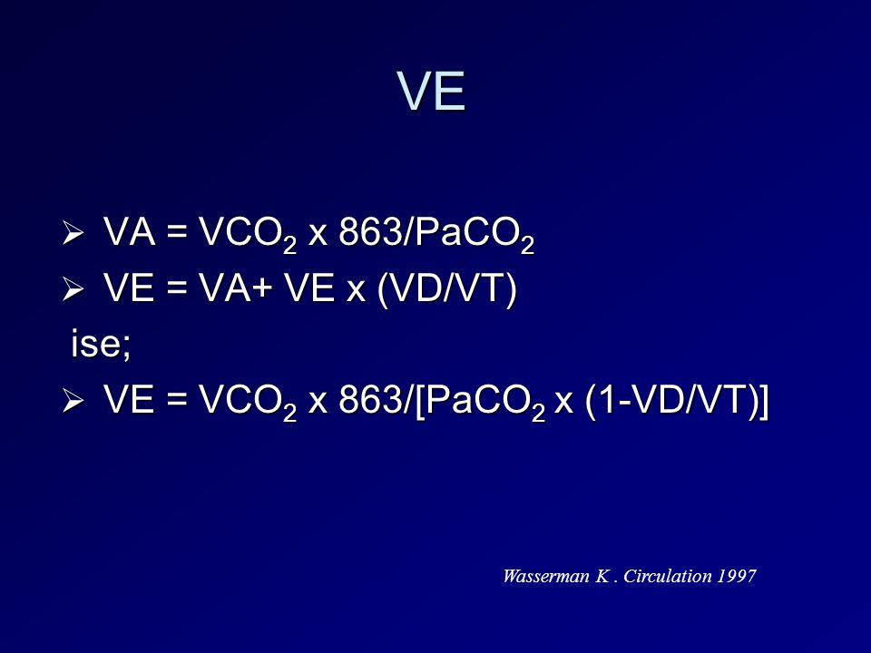 VE  VA = VCO 2 x 863/PaCO 2  VE = VA+ VE x (VD/VT) ise; ise;  VE = VCO 2 x 863/[PaCO 2 x (1-VD/VT)] Wasserman K. Circulation 1997