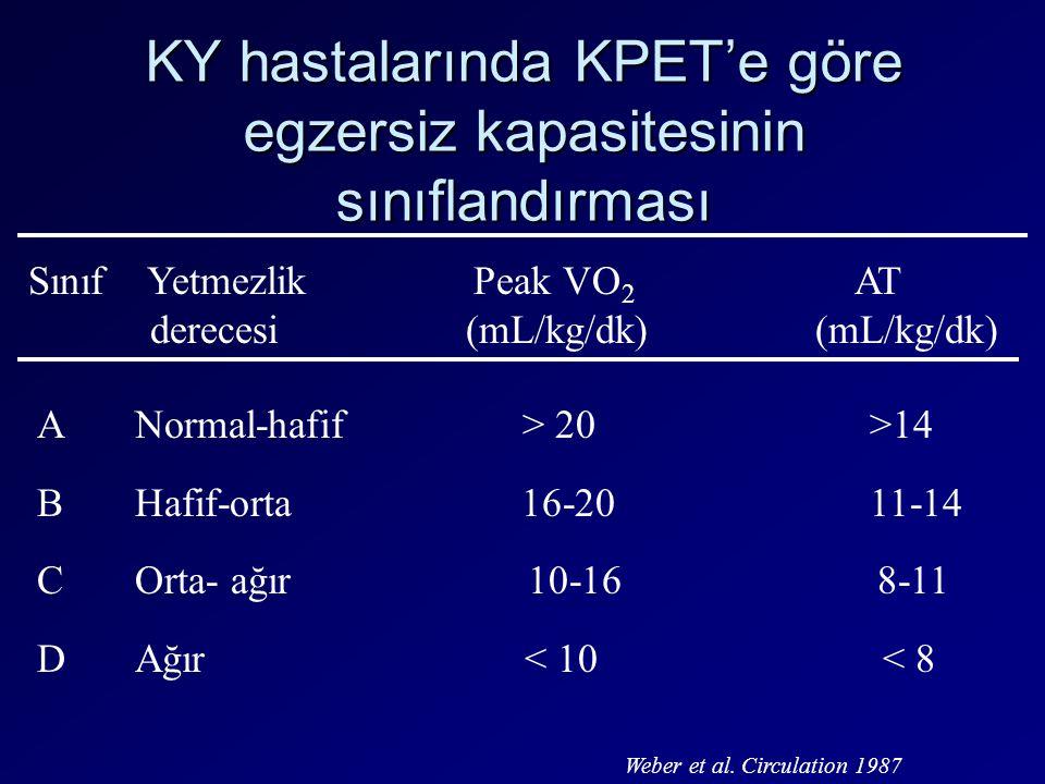 KY hastalarında KPET'e göre egzersiz kapasitesinin sınıflandırması Sınıf Yetmezlik Peak VO 2 AT derecesi (mL/kg/dk) (mL/kg/dk) A Normal-hafif > 20 >14
