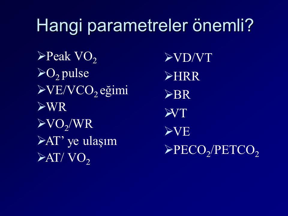Hangi parametreler önemli?  Peak VO 2  O 2 pulse  VE/VCO 2 eğimi  WR  VO 2 /WR  AT' ye ulaşım  AT/ VO 2  VD/VT  HRR  BR  VT  VE  PECO 2 /