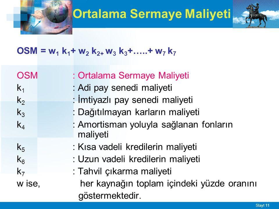 Slayt 11 Ortalama Sermaye Maliyeti OSM = w 1 k 1 + w 2 k 2+ w 3 k 3 +…..+ w 7 k 7 OSM : Ortalama Sermaye Maliyeti k 1 : Adi pay senedi maliyeti k 2 :