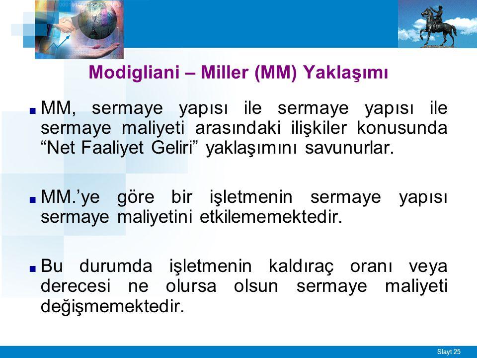 """Slayt 25 Modigliani – Miller (MM) Yaklaşımı ■ MM, sermaye yapısı ile sermaye yapısı ile sermaye maliyeti arasındaki ilişkiler konusunda """"Net Faaliyet"""