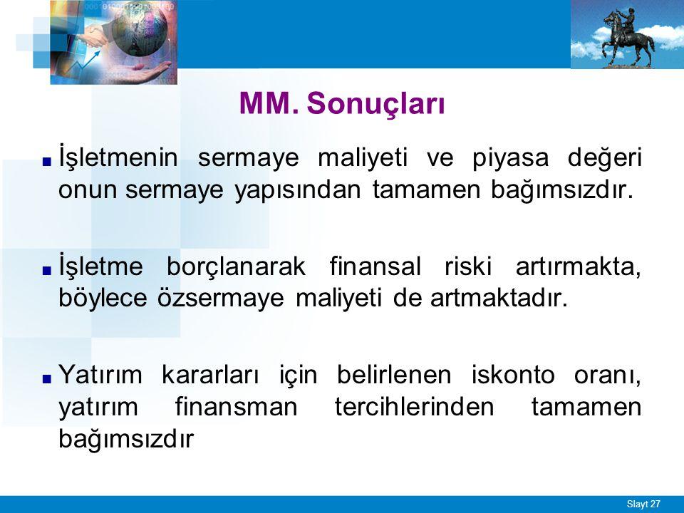 Slayt 27 MM. Sonuçları ■ İşletmenin sermaye maliyeti ve piyasa değeri onun sermaye yapısından tamamen bağımsızdır. ■ İşletme borçlanarak finansal risk