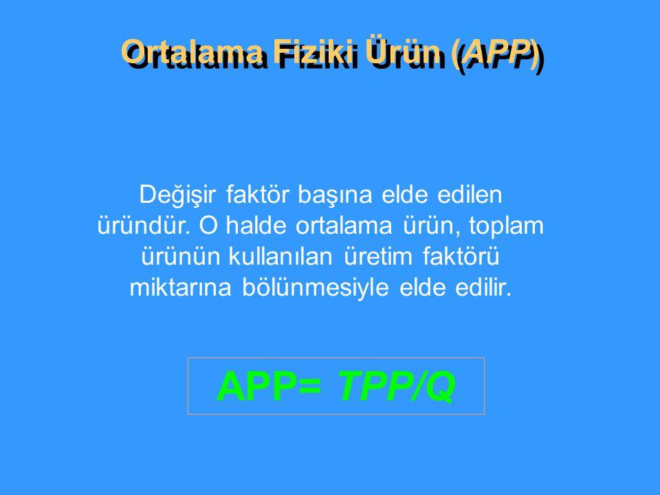 Ortalama Fiziki Ürün (APP) APP= TPP/Q Değişir faktör başına elde edilen üründür.