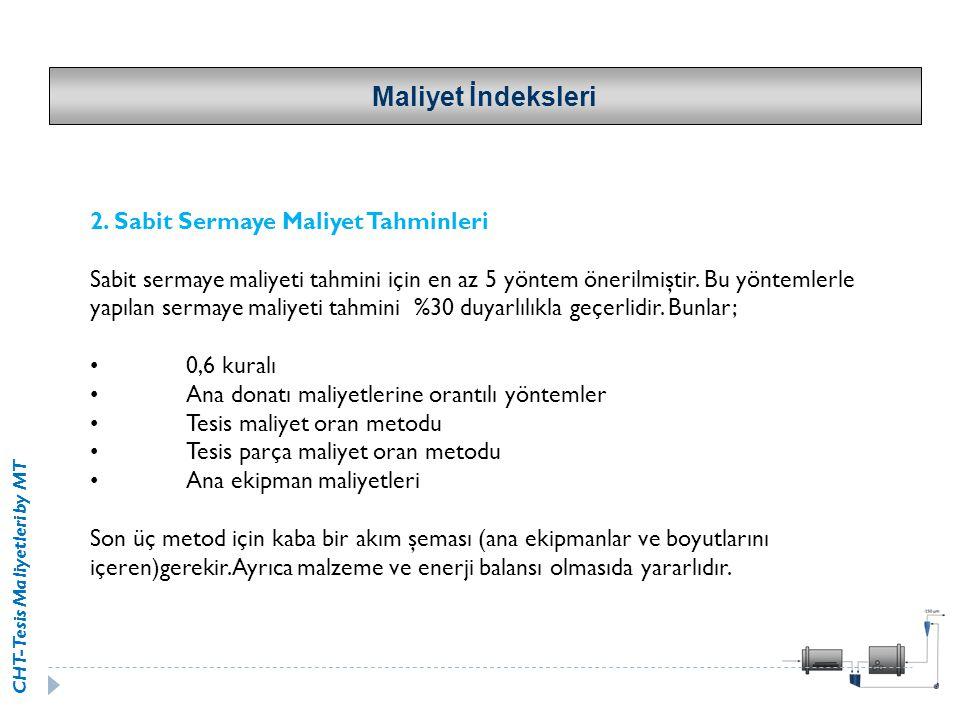 CHT-Tesis Maliyetleri by MT 2. Sabit Sermaye Maliyet Tahminleri Sabit sermaye maliyeti tahmini için en az 5 yöntem önerilmiştir. Bu yöntemlerle yapıla