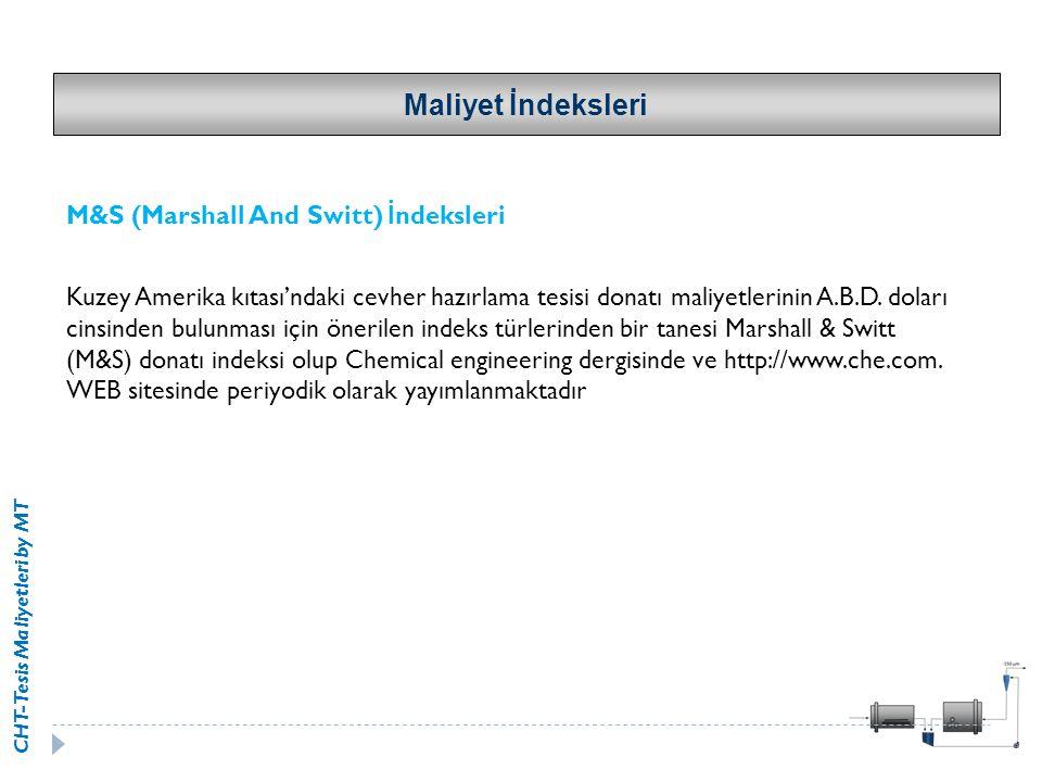 CHT-Tesis Maliyetleri by MT Maliyet İndeksleri M&S (Marshall And Switt) İ ndeksleri Kuzey Amerika kıtası'ndaki cevher hazırlama tesisi donatı maliyetl