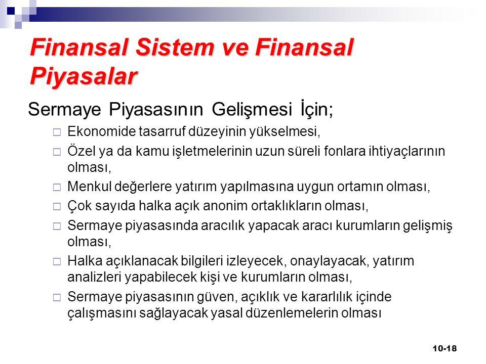 Finansal Sistem ve Finansal Piyasalar Sermaye Piyasasının Gelişmesi İçin;  Ekonomide tasarruf düzeyinin yükselmesi,  Özel ya da kamu işletmelerinin