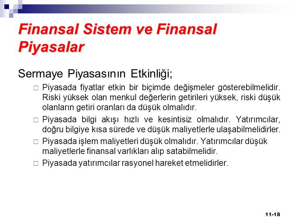 Finansal Sistem ve Finansal Piyasalar Sermaye Piyasasının Etkinliği;  Piyasada fiyatlar etkin bir biçimde değişmeler gösterebilmelidir. Riski yüksek