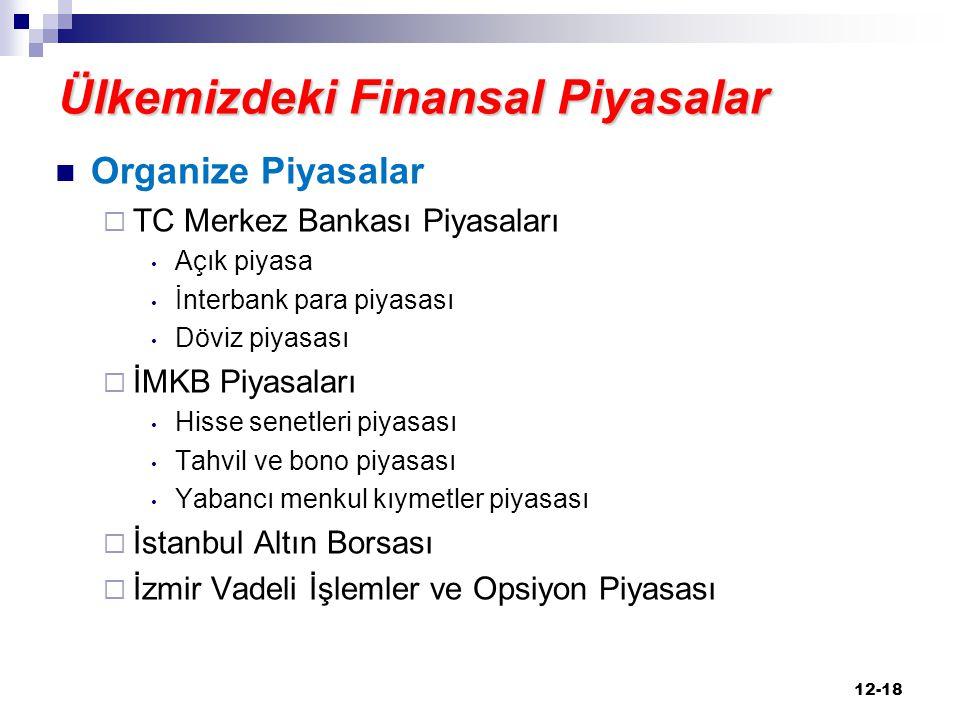 Ülkemizdeki Finansal Piyasalar Organize Piyasalar  TC Merkez Bankası Piyasaları Açık piyasa İnterbank para piyasası Döviz piyasası  İMKB Piyasaları
